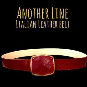 Another Line red leather belt & buckle gold trim